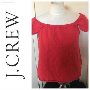 Crew off Shoulder red/orange top with cap sleeves